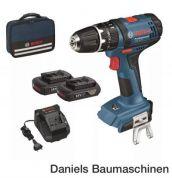 Bosch GSB 18-2-LI + 2 x 1,5 Ah Akkupack + Ladegerät AL 1820 CV + Tasche