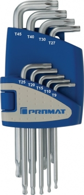 Winkelschraubendrehersatz Torx 9 teilig T9 - T45 mit Kugelkopf PROMAT